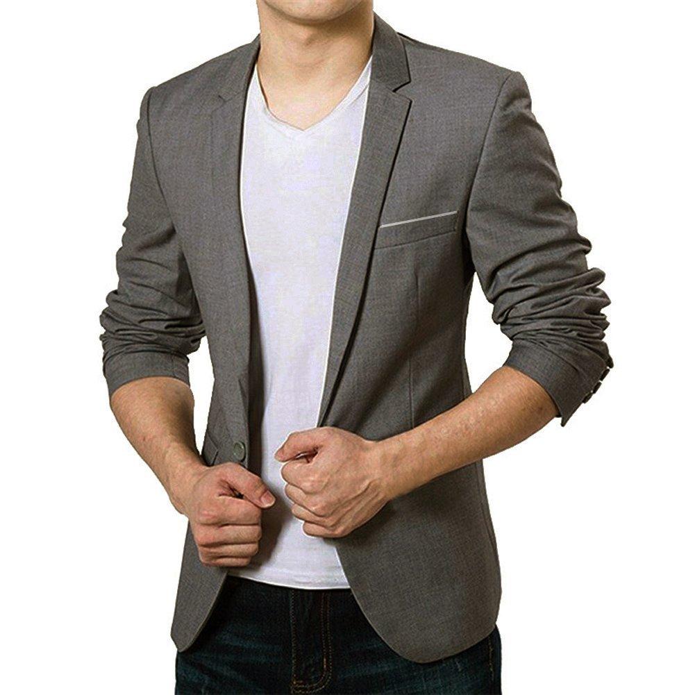 Vobaga Men's Slim Fit Casual One Button Suit Blazers Grey XL