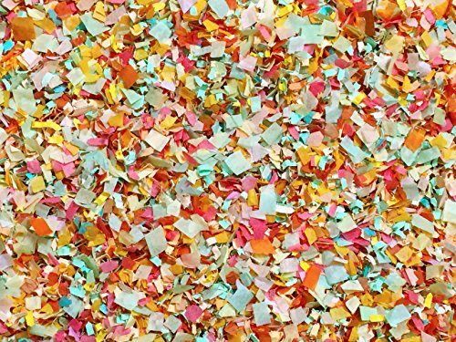 Biodegradable Confetti Pink Peach Mint Coral Mix Shabby Cottage Chic Wedding Decorations Decor Throwing Send Off Flower Girl Basket Confetti InsideMyNest (25 Handfuls) ()