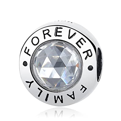 a9cfbfc6e Forever Family Fit Original Pandora High Quality 925 Sterling Silver Family  Forever Charm Beads Clear CZ Charm Bracelet Authentic Jewelry Gift: ...