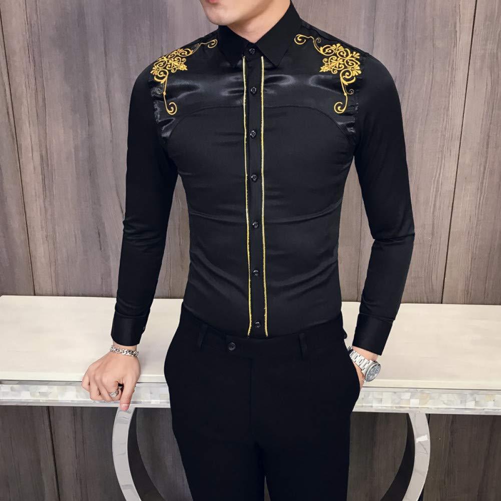XXXL  MKDLJY Homme Chemises De Noir Chemises Hommes Chemise à Manches Longues mode Party Club Prom Party Tuxedo Shirt Décontracté Slim Fit Shirt