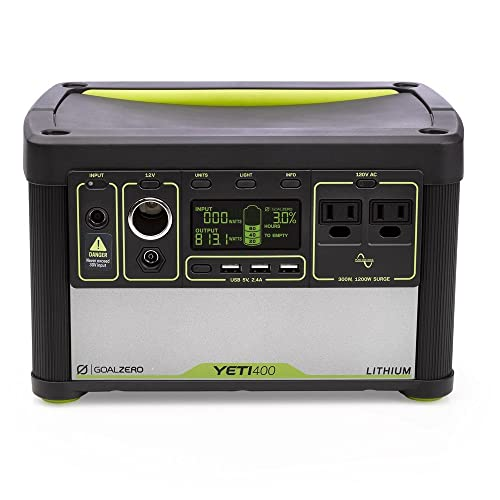 Goal Zero Yeti 400 Lithium Portable Power Station, 428Wh Rechargeable Generator and Backup Power Source with 300 Watt 1200 Watt Surge AC inverter, USB, 12V Outputs