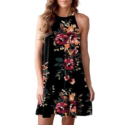 000ec77215c6 Women's Casual Mini Dress Sleeveless Halter Neck Boho Floral Print Short  Dress Sundress Beachwear Swing Midi