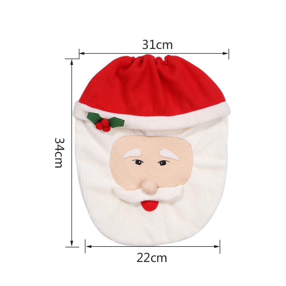 Zogin Weihnachten Toilettensitzbezug Weihnachtsdeko WC-Sitze Set mit Sitzbezug & Teppich & Gewebe Deckel für Badezimmer im Weihnachtsmann-Design