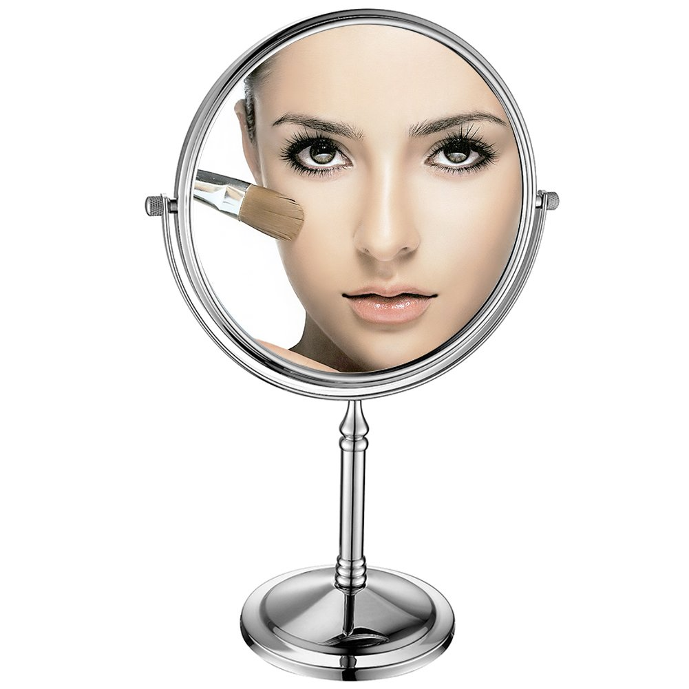 GuRun 8-inch Double-Sided Swivel Tabletop Makeup Mirrors with 10x Magnification,Chrome Finish M2202 8in,10x