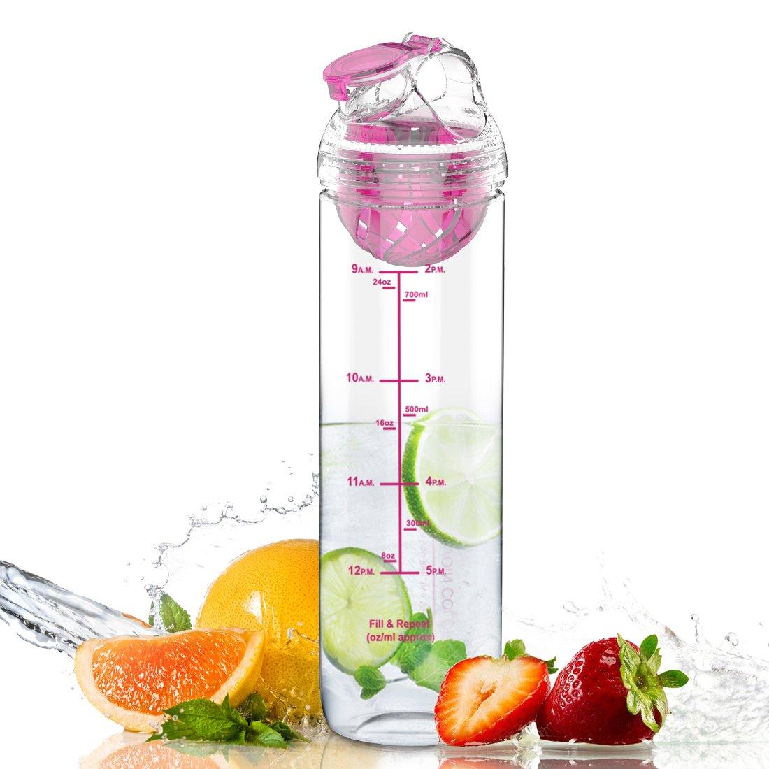 AVOIN colorlife 27oz。スポーツTritanフルーツInfuser Water Bottle (多くの色オプション) – BPAフリー B0756ZYJG4 Cherry Pink