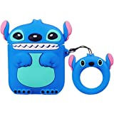 Airpods Case 3D Cute Stitch Cartoon Airpods Case Portable AirPods Accessories Soft Silicone Anti-Scratch Shockproof Waterproof Protective Case with Keychain,Blue