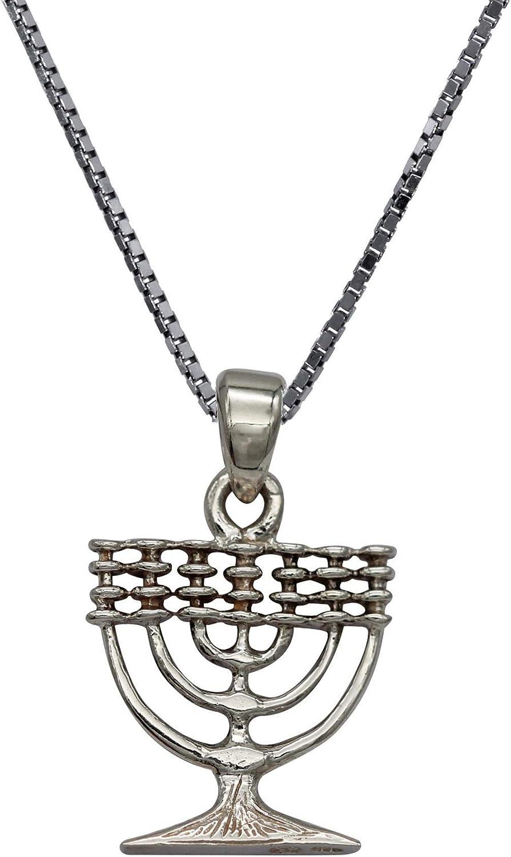 925 Silver Sterling Yisrael Soul Lamp Menorah Pendant Necklace Kabbalah Charm