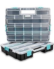 Navaris organizador de tornillos - Caja de almacenaje de plástico para bricolaje - Compartimentos de diferentes