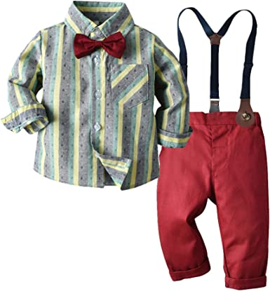 Suspenders Pants Outfits Moyikiss Studio Toddler Dress Suit Baby Boys Gentleman Clothes Sets Bow Ties Shirts