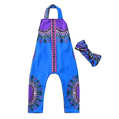 680b90b5aa626 LILICAT 2PCS Bébé Fille Tenues Vêtements Été Ensemble imprimé Africain sans  Manches Combinaison Barboteuse + Bandeau