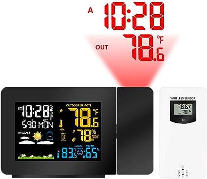 M/ét/éo Projecteur Horloge Au Plafond avec Affichage De La Temp/érature R/éveil De Projection Num/érique Deux Alarmes Chargement USB Couleur R/étro-/Éclairage Snooze