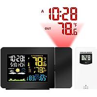 Despertador De Proyección Digital Sensor Al Aire Libre, Reloj del Proyector En El Techo con Pantalla De Temperatura, Alarmas Duales, Repetición, Carga USB, Pronóstico del Tiempo, Dormitorios