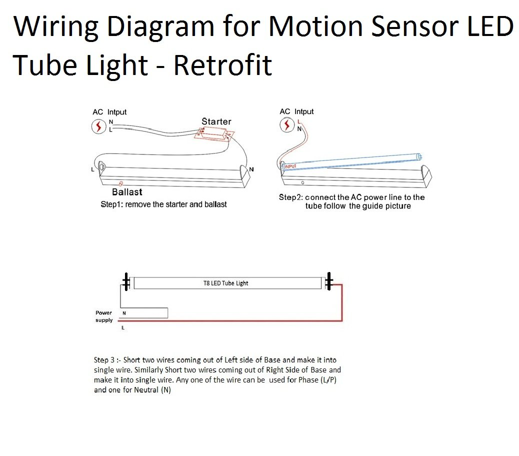 Motion Sensor 18w Dimmable To 3w Tube Light Retrofit Pack Of 4 Wiring Diagram For T8 Led Home Kitchen