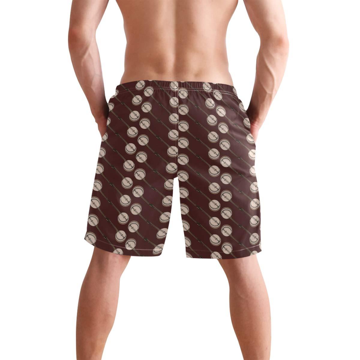 DongDongQiang Men Summer Banjo Musical Instrument Quick Dry Volleyball Beach Shorts Board Shorts