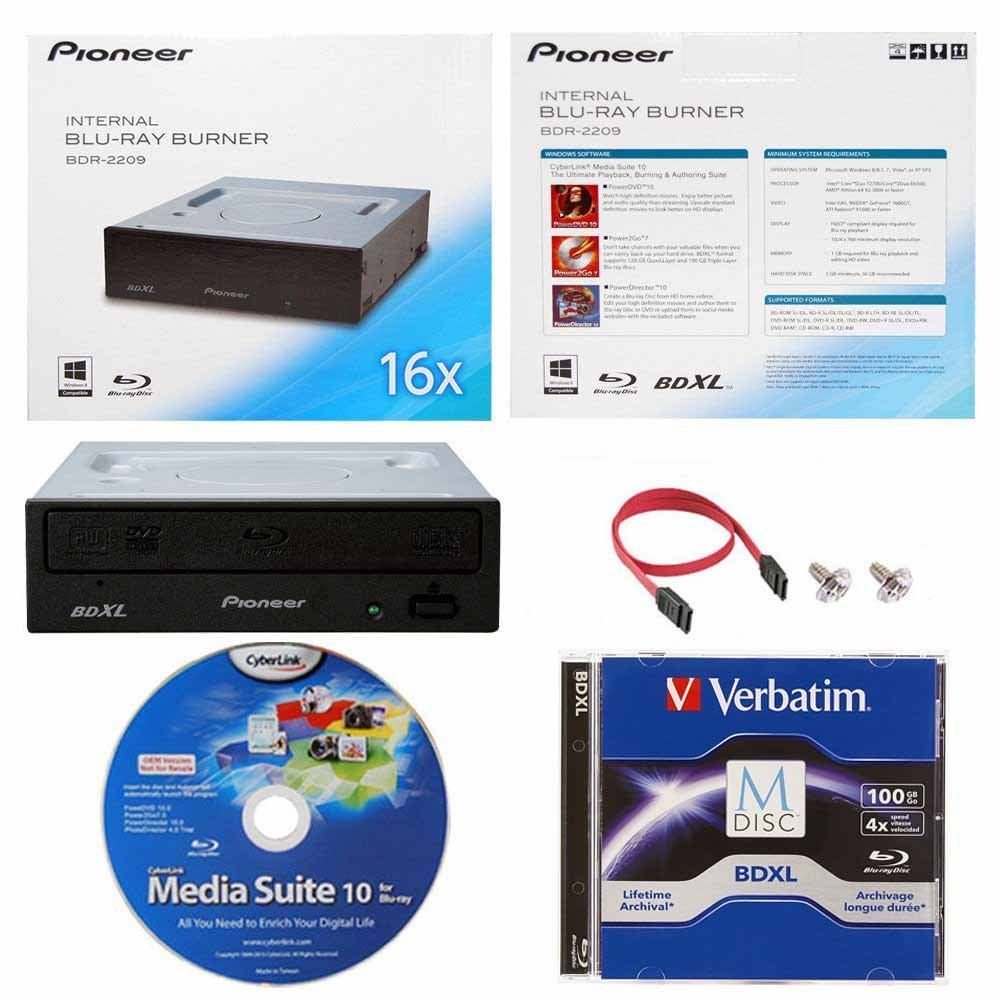 Pioneer 16X BDR-2209 Internal Blu-ray Burner in Retail Box Bundle with 100GB Verbatim M-Disc BDXL, Cyberlink Burning Software and Cable Accessories by Pioneer
