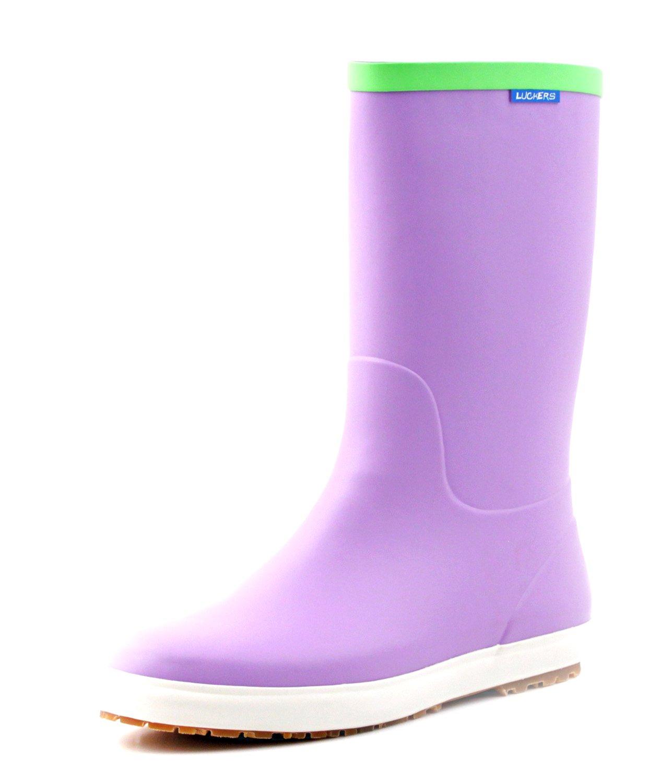 Luckers Women's Foldable Wellies Rain Boots A (8 B(M) US, Purple)