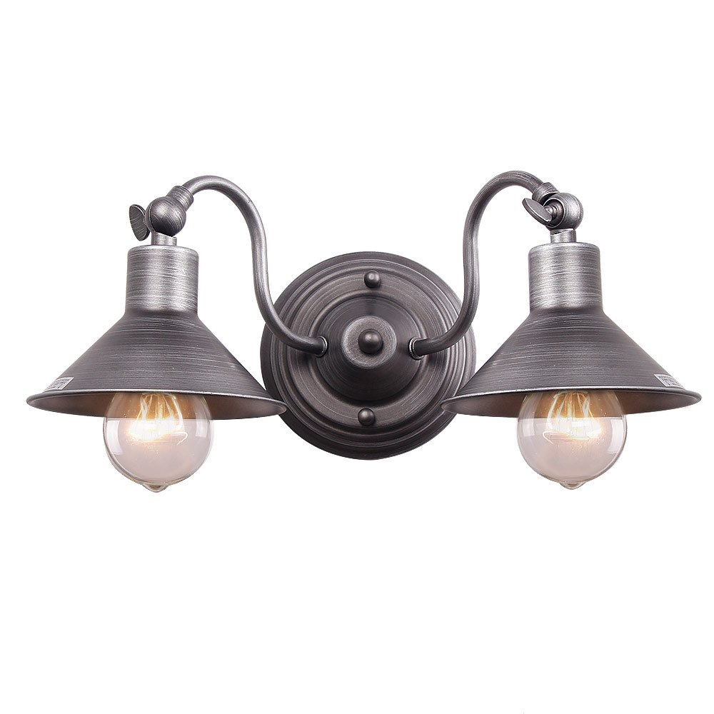 Anmytek Wall Light Fixture Industrial Retro Rustic Loft Antique Wall Lamp Edison Vintage Pipe Wall Sconce Decorative Fixtures Lighting Luminaire (Bulbs not included) (Two Lights) by Anmytek