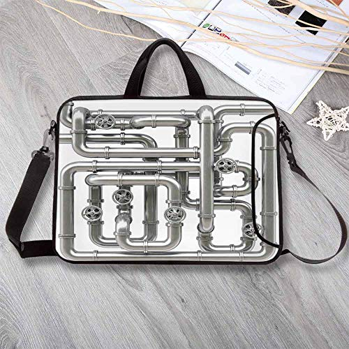 Industrial Custom Neoprene Laptop Bag,Maze of Pipelines Faucets and Valve Gasoline Engineering Themed Print Decorative Laptop Bag for Men Women Students,13.8