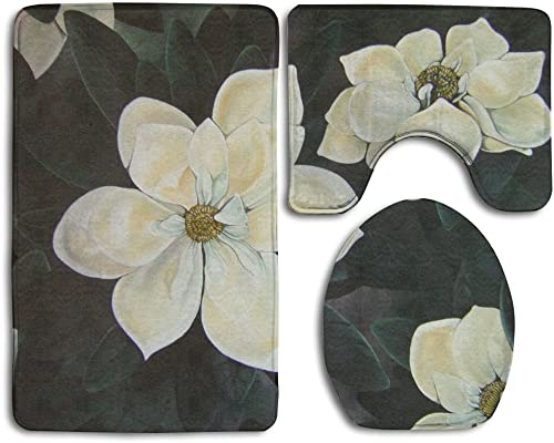 Bath Mat 3 Piece Flannel Bathroom Rug Set,vivid Flowers Magnolia Painting Design Shower Mat And Toilet Cover