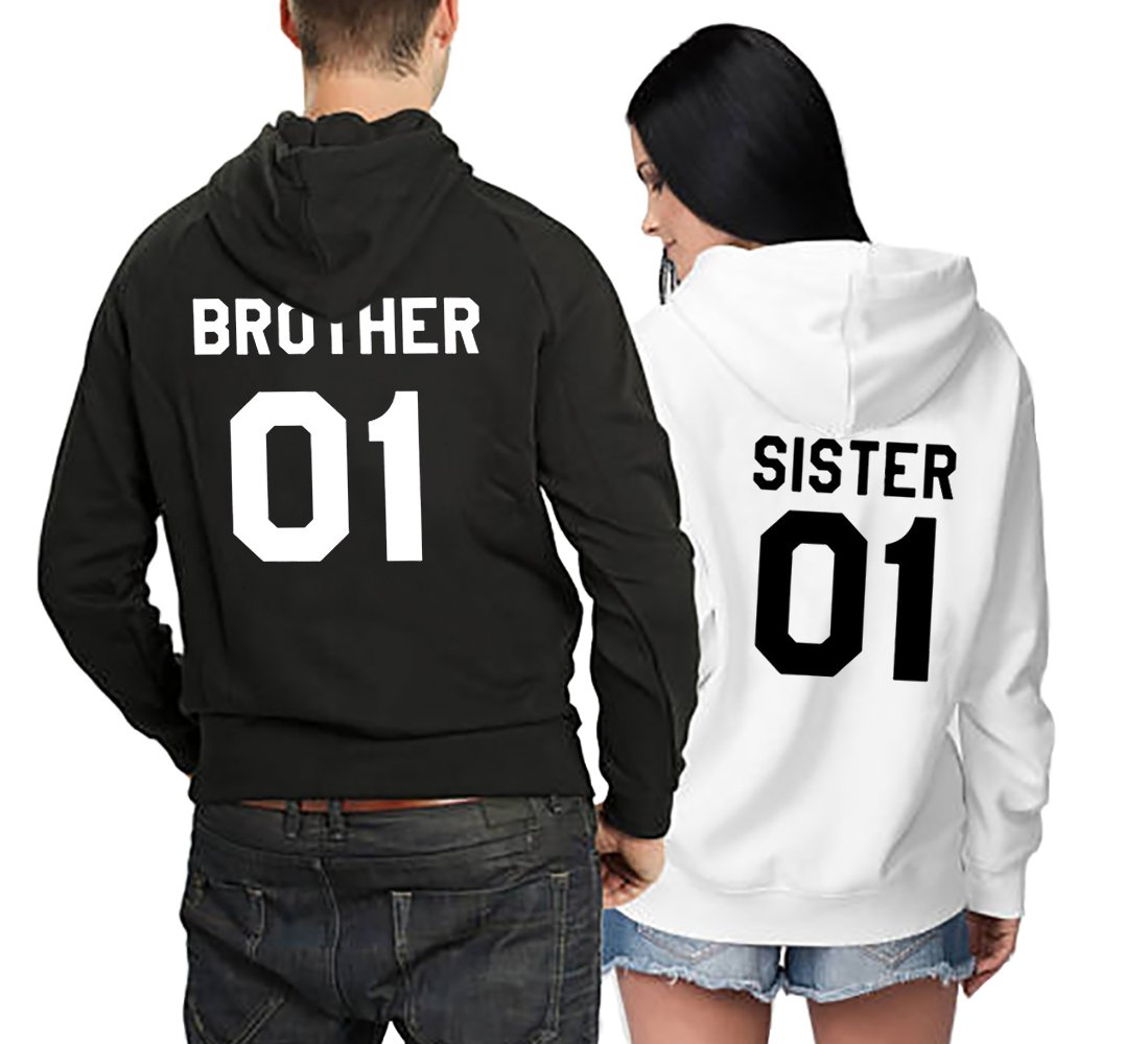 Matching Couple Fleece Hoodie Brother Sister His Her Warm Winter Valentines Lovers Gift Set 2 Pack Hooded Sweatshirt Pullover (Black+White, Brother-L+Sister-S)