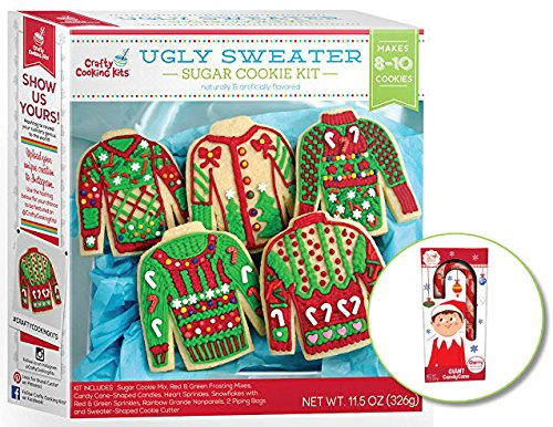 Ugly Sweater Christmas Sugar Cookie Kit - Includes Elf on the Shelf Giant Candy Cane