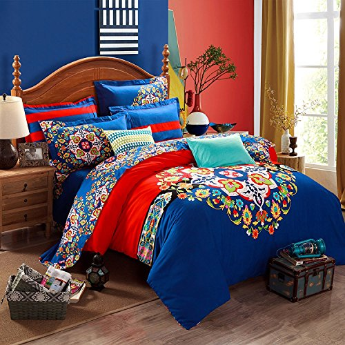 Classic 4 Pieces Bedding Set Bohemian Exotic Style Floral Duvet Cover Flat Sheet Pillow Cover Queen/King Size Pattern4 - Bamboo Queen Quilted Coverlet