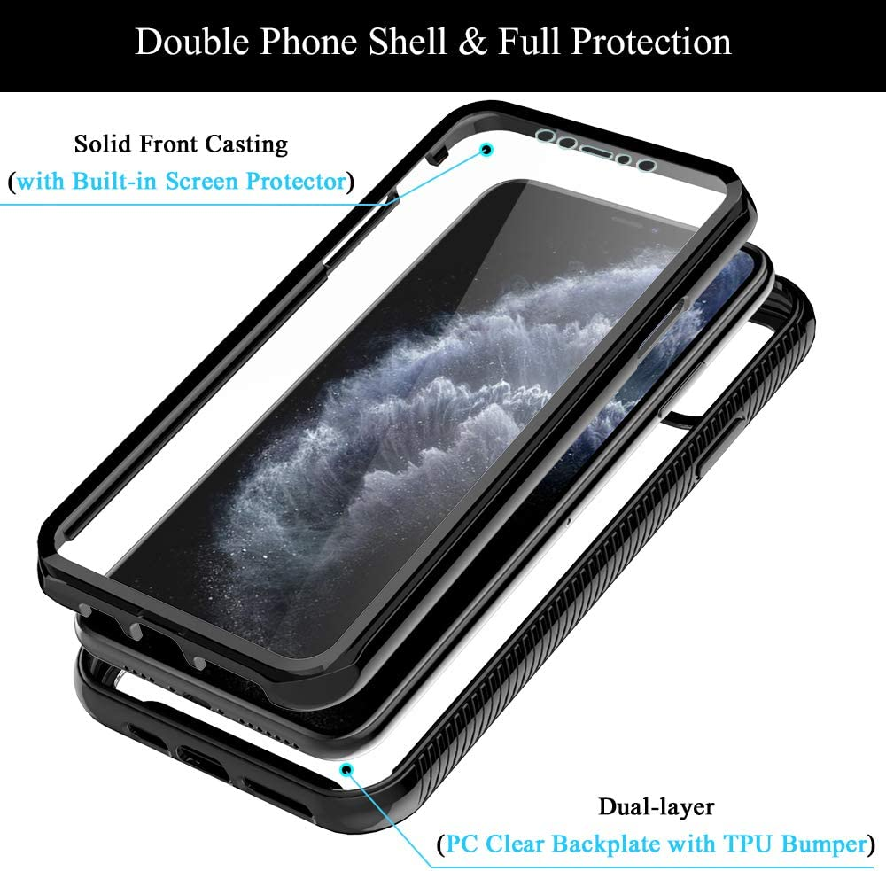 """Crystal Clear 6.5/"""" Heavy Duty Protection Armor Shockproof Rubber Bumper Protective Phone Case Cover for iPhone 11 Pro Max HATOSHI iPhone 11 Pro Max 6.5/"""" Case with Built-in Screen Protector, -Black"""