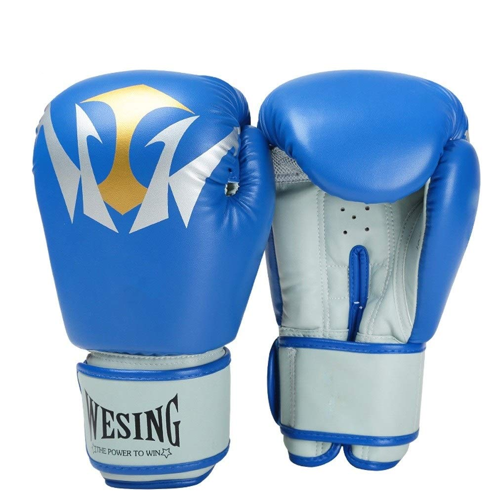 Agelec 10oz Professional Training Mitten Adult Boxing Gloves Sanda Muay Thai Fighting Beautiful Practical Breathable Wear Boxing Gloves (Color : Blue)