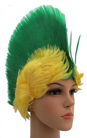Brubaker – Brasil Fan Peluca Punky IRO de Peluca Verde Amarillo de fútbol WM Olympia
