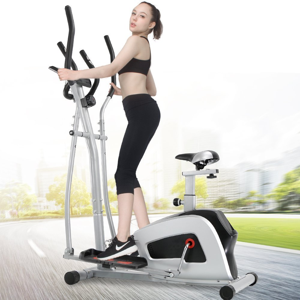 Crystal Fit 2-in-1 Elliptical Trainers Cardio Fitness Exercise Bike Home Gym with Heart Rate Monitor, Adjustable Resistance Dual Trainer