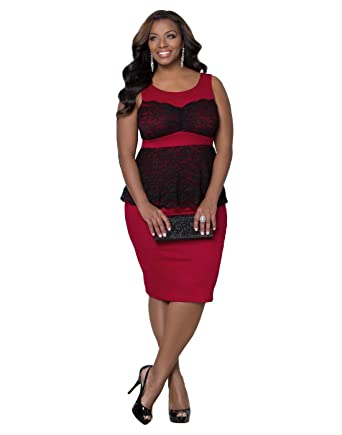 Kiyonna Women\'s Plus Size Lady in Lace Peplum Dress