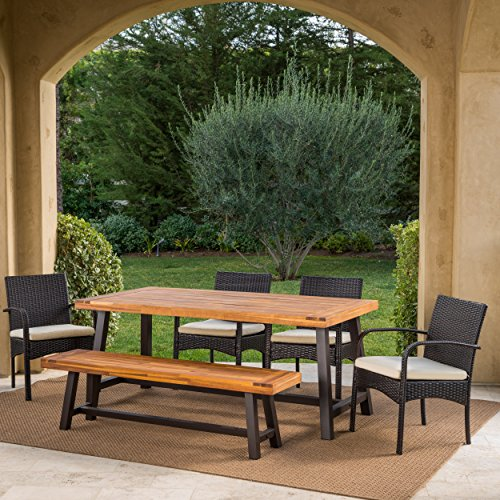 Great Deal Furniture Beryl Outdoor 6 Piece Rustic Metal Iron and Sandblast Finished Acacia Wood Dining Set with 4 Multibrown Wicker Dining Chairs and Crème Water Resistant Cushions