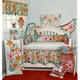 Cotton Tale Designs 100% Cotton Bright Colorful Floral & Red with White Polka Dots 10 Piece Baby Nursery Crib Bedding Set, Lizzie