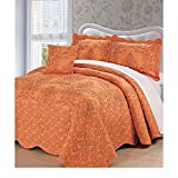 4pc 120 X 120 Nectarine Burnt Orange Oversized Damask Bedspread King Floor, Hangs Over Edge Floral Bedding Drops Side Bed Frame Drapes Large Extra Wide Long French Country, Polyester
