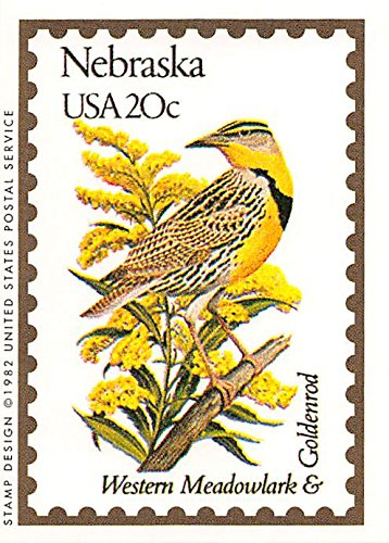 Nebraska Bird State Flower (Nebraska State Bird & Flower trading card (Western Meadowlark & Goldenrod) 1991 Bon Air #27