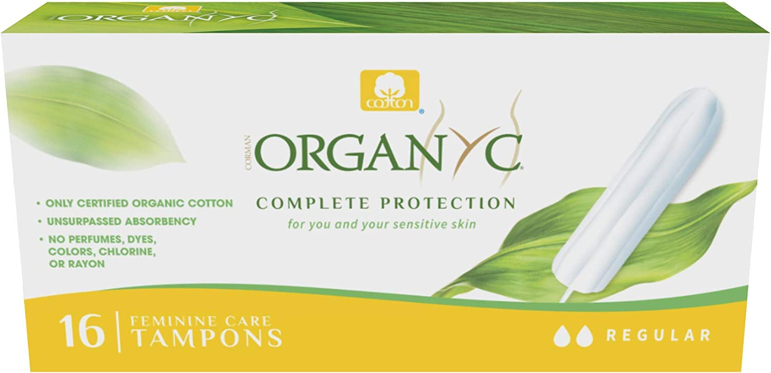 Organyc 100% Certified Organic Cotton Tampons, Normal Flow, No Applicator, 16 Count