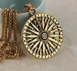HZMAN Steampunk Nautical Pirate compass pendant Stainless Steel Necklace