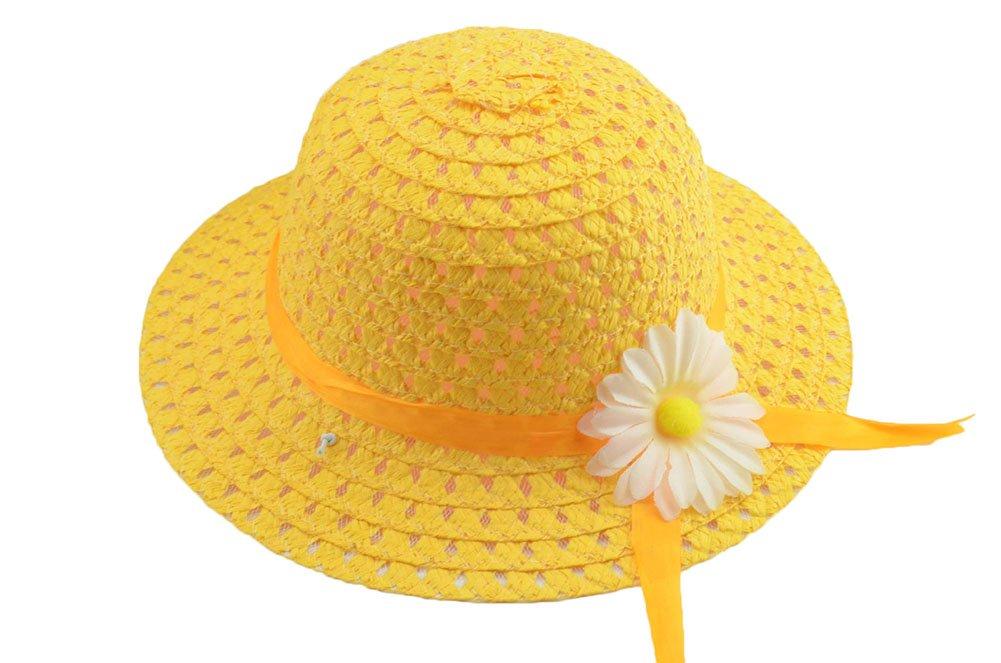 Hosaire Sombrero de Paja de Ala Ancha Verano Gorra Sombrero Anti UV Solar para Viaje Playa para Bebé Niñas Niños(Accesorios color de la flor al azar)