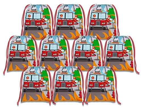 Fire Trucks Fire Fighter Drawstring Bags Kids Birthday Party Supplies Favor Bags 10 Pack