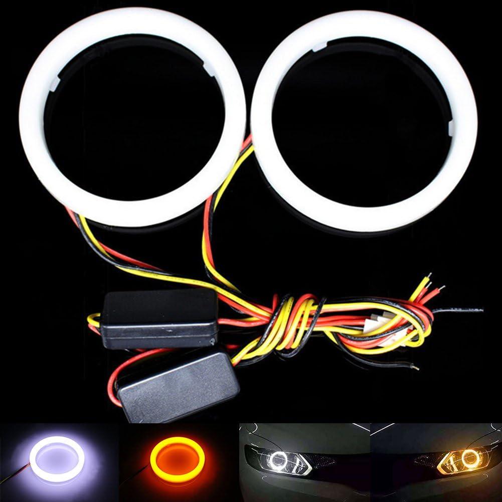 Ambra Doppio Colore Switchback Auto Halo Anelli Cotone luci 12V Faro 66 SMD COB Moto 60MM Qasim LED 1 Paio Bianco
