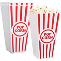 "[Novelty Place] Plastic Red & White Striped Classic Popcorn Containers for Movie Night - 7.8"" Tall x 3.8"" Square (4 Pack…"