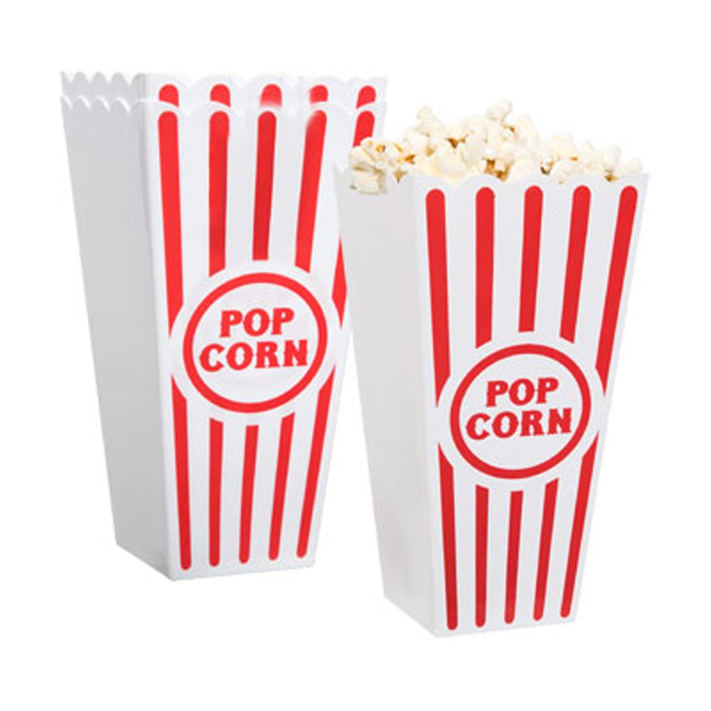 [Novelty Place] Plastic Red & White Striped Classic Popcorn Containers for Movie Night - 4 Square x 8 Deep (4 Pack)