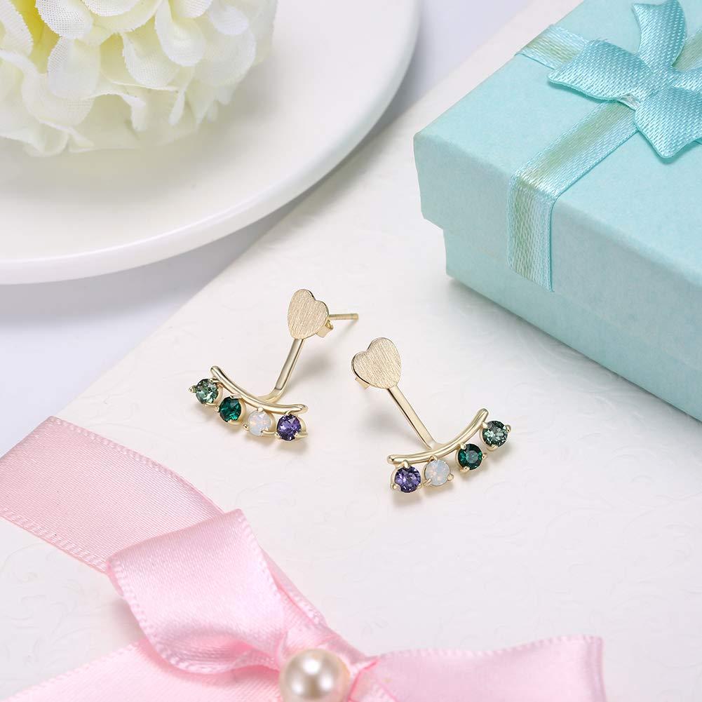 Phospher Elements Crystal Sterling Silver Wear Colorful Diamonds Light Luxury Stud Earrings