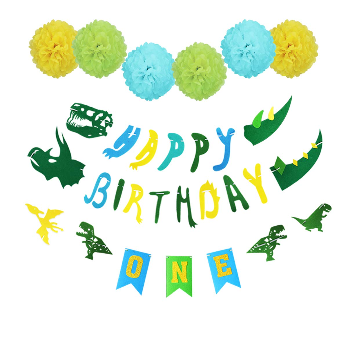 Dinosaur Happy First Birthday Banner Blue For 1 St Baby Boys Party Decorations Gold ONE