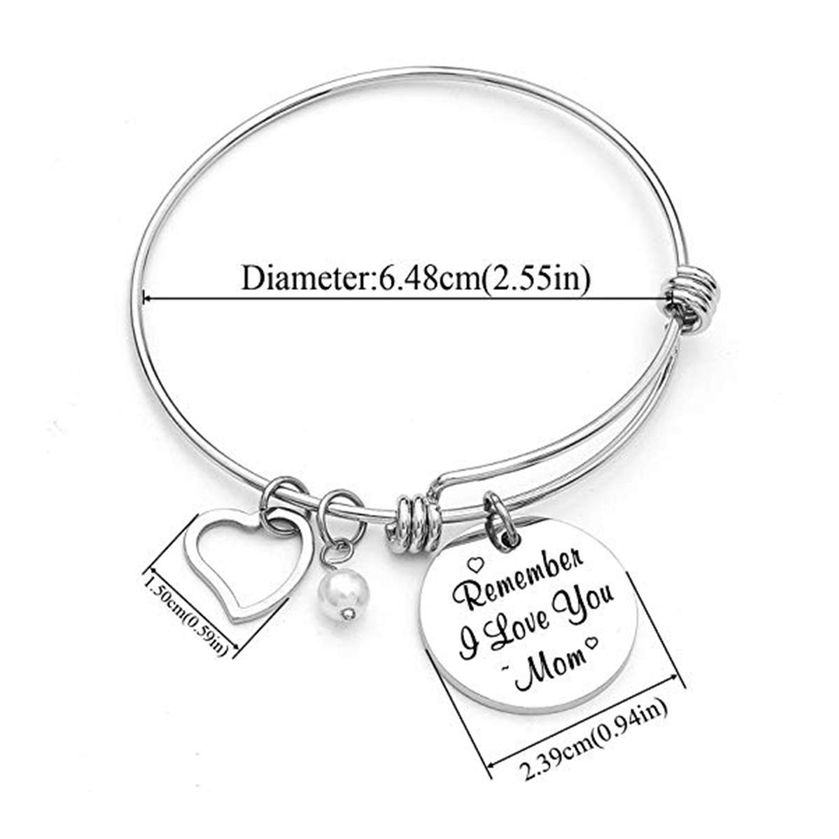 Vinca Mascot Charm Bracelet for Women Mom Remember I Love You Mom Stainless Steel Adjustable Bangle for Mother Birthday from Daughter Son