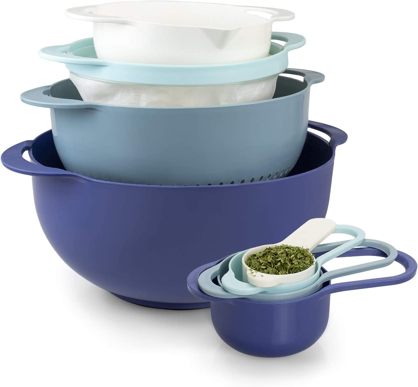 Cook With Color 8 Piece Nesting Bowls with Measuring Cups Colander and Sifter Set | Includes 2 Mixing Bowls, 1 Colander, 1 Sifter and 4 Measuring Cups, Teal