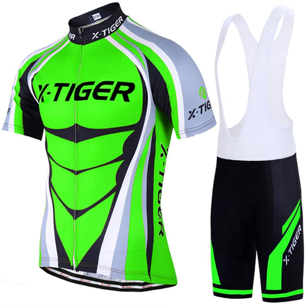 Tzp5ChB Breathable Cycling Blouse+Gel Pad Pants Jersey Set Racing Bike Cycling Clothes Green XL