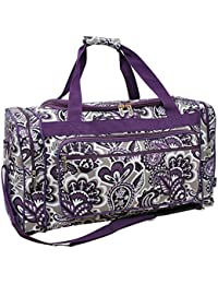 "Purple Paisley NGIL Canvas Carry on Shoulder 23"" Duffle Bag"