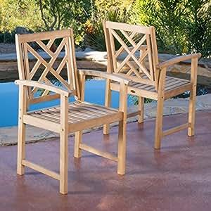 Sanjay Outdoor Natural Wood Armchairs (Set of 2)
