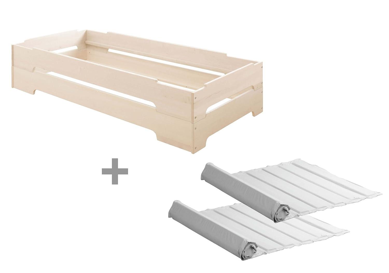 BioKinder 23614 Kai Set Stapelbett mit Roll-Lattenroste aus Massivholz 90 x 200 cm 2 Stück